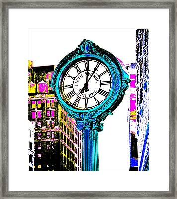 Fifth Avenue Building Clock New York  Framed Print by Marianna Mills