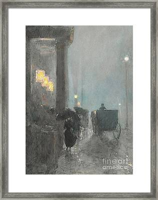 Fifth Avenue, Evening Framed Print by Childe Hassam
