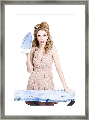 Fifties Housewife Woman Ironing Clothes Framed Print