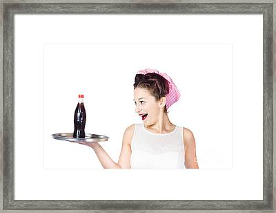 Fifties Style Female Waiter Serving Up Soda Framed Print