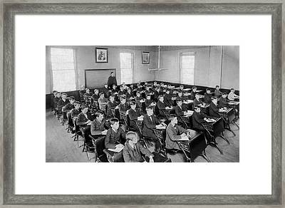 Fifty Boys In A Classroom Framed Print by Underwood Archives