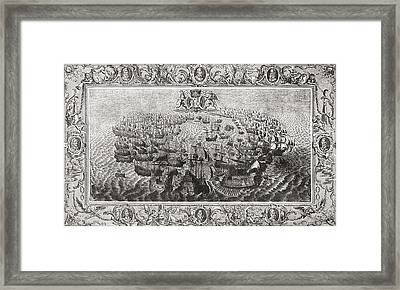 Fight Between The Spanish Armada And Framed Print