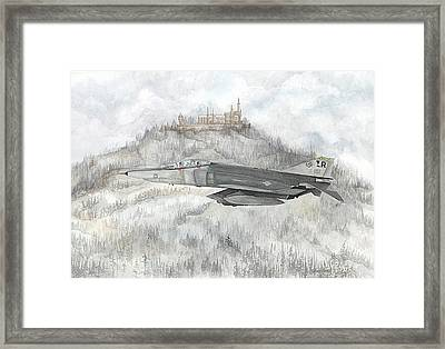 Fighter Jet And Castle Framed Print by Tracey Hunnewell