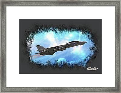 Fighter Jet F-14 In The Clouds Framed Print