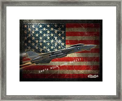 Fighter Jet F14 Kick Butt Framed Print
