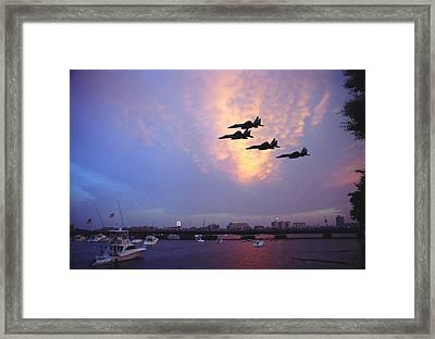 Fighter Jets Over Boston Framed Print by Rose Martin