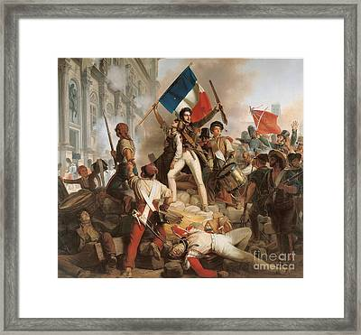 Fighting At The Hotel De Ville Framed Print by Jean Victor Schnetz