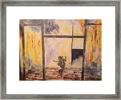 Fighting Fire Tap Dancer Framed Print by Tonya Walter