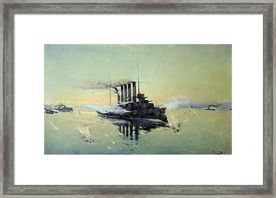 Fighting On July In The Yellow Sea Framed Print by Konstantin Veshchilov
