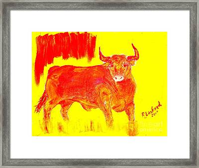 Fighting Red Bull 2 Framed Print by Richard W Linford