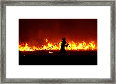 Fighting The Fire Framed Print by Linda Unger