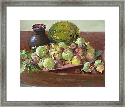 Figs And Cantaloupe Framed Print