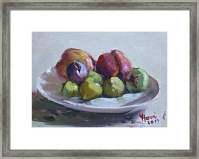 Figs And Peaches Framed Print
