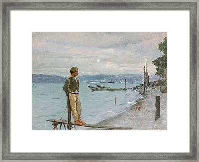Figure At Grande Rive Framed Print by Francois Bocion