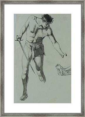 Framed Print featuring the painting Figure Drawing 1961. by Mike Jeffries