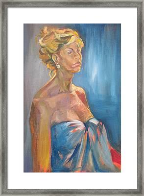 Figure In Blue Framed Print by Julie Orsini Shakher