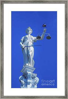 Figure Of Justice Clarion Framed Print