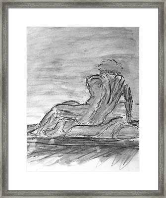 Figure Sketch In Monochrome Black White Arched And Curved Twisted Back Leaning On One Hand In Seated Framed Print