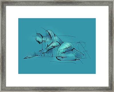 Framed Print featuring the drawing Figure Vii by Keith A Link