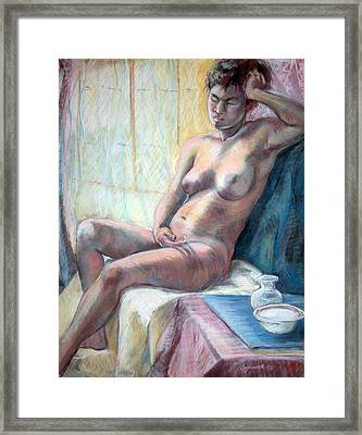 Figure With Dishes Framed Print