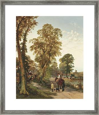 Figures And Animals Along A River Bank, A Cottage And Windmill Beyond Framed Print