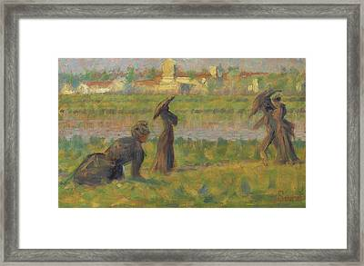 Figures In A Landscape Framed Print by Georges Seurat