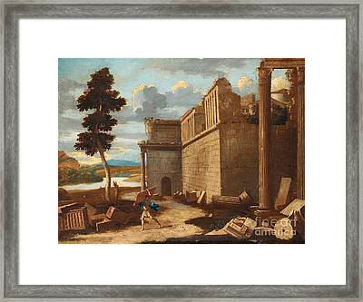 Figures In A Landscape With Ruins Framed Print by Celestial Images