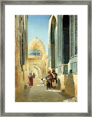 Figures In A Street Before A Mosque Framed Print by Richard Karlovich Zommer