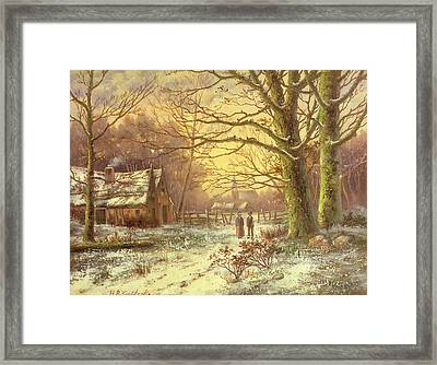 Figures On A Path Before A Village In Winter Framed Print