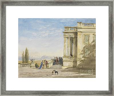 Figures On A Terrace With Greyhounds Framed Print