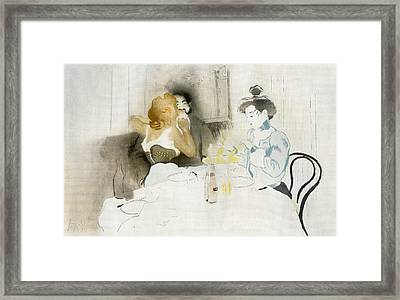 Figures Seated In A Caf Framed Print by Vintage Design Pics
