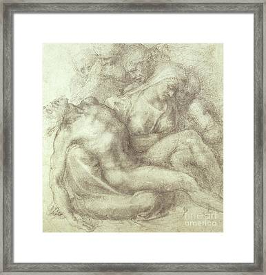 Figures Study For The Lamentation Over The Dead Christ, 1530 Framed Print by Michelangelo