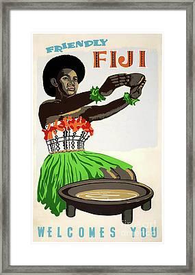 Fiji Restored Vintage Travel Poster Framed Print