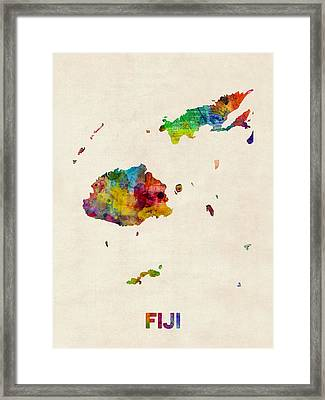 Fiji Watercolor Map Framed Print by Michael Tompsett