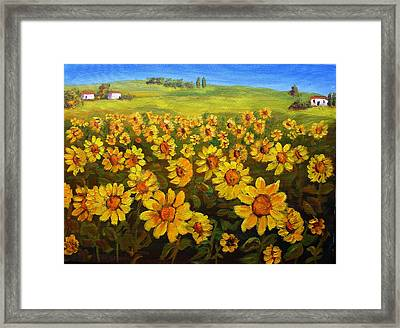 Filed Of Sunflowers Framed Print