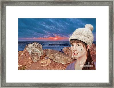 Filipina Beauty At The Beach During Sunset Framed Print