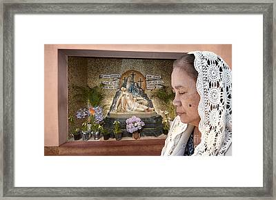 Filipina Woman Wearing A Vale Deep In Thought  Framed Print by Jim Fitzpatrick