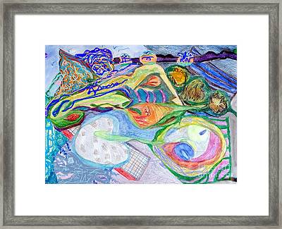 Filled With Blue Things Framed Print by Barb Greene mann
