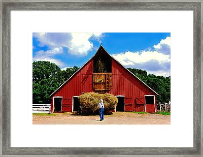 Filling The Haymow Framed Print