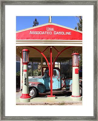 Filling Up The Old Ford Jalopy At The Associated Gasoline Station . Nostalgia . 7d12884 Framed Print by Wingsdomain Art and Photography