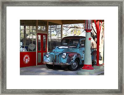 Filling Up The Old Ford Jalopy At The Associated Gasoline Station . Nostalgia . 7d13021 Framed Print by Wingsdomain Art and Photography