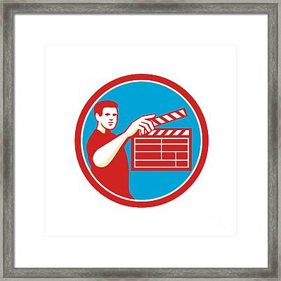 Film Crew Clapperboard Circle Retro Framed Print by Aloysius Patrimonio
