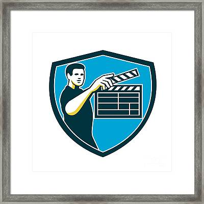 Film Crew Clapperboard Shield Retro Framed Print by Aloysius Patrimonio