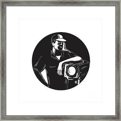 Film Crew Lighting Fresnel Spotlight Circle Woodcut Framed Print by Aloysius Patrimonio