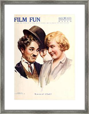 Film Fun Classic Comedy Magazine Featuring Charlie Chaplin And Girl 1916 Framed Print