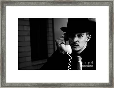 Film Noir Detective On Telephone Framed Print by Jorgo Photography - Wall Art Gallery