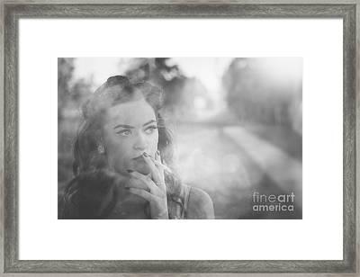 Film Noir Lady Smoking Cigarette On Vintage Street Framed Print