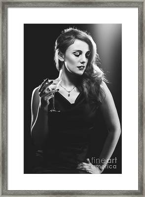 Film Noir Woman Drinking A Martini Framed Print by Amanda Elwell