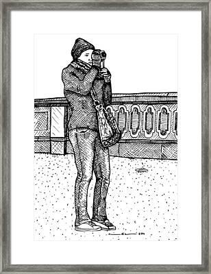 Filming Lady Framed Print by Karl Addison