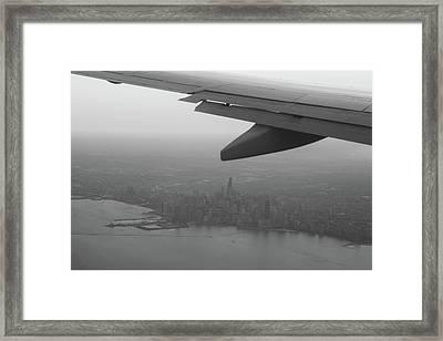 Final Approach Chicago B W Framed Print